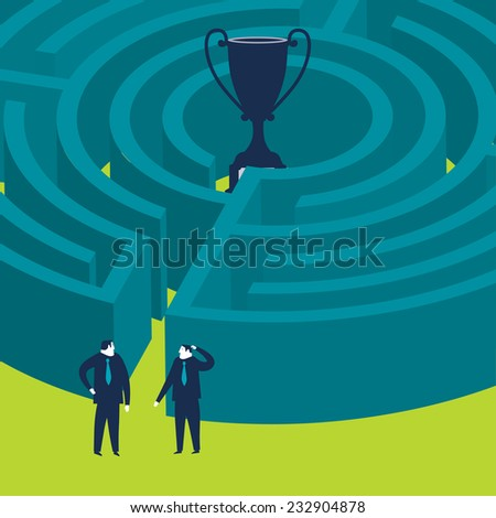 Businessmen wanting to enter a trophy maze - stock vector