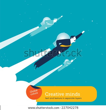 Businessmen with a bulb rocket. Vector illustration Eps10 file. Global colors. Text and Texture in separate layers. - stock vector