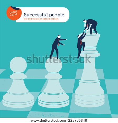Businessmen with chess pieces. Vector illustration Eps10 file. Global colors. Text and Texture in separate layers. - stock vector