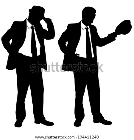 businessmen with hats isolated on white - stock vector