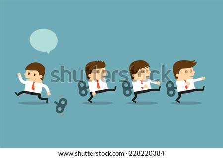Businessmen  with wind-up key - stock vector
