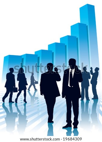 Businesspeople and a large graph, conceptual business illustration. - stock vector