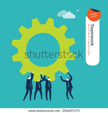 Businesspeople carrying a gear. Vector illustration Eps10 file. Global colors&layers. - stock vector