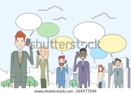 Businesspeople Group Smart Cell Phone Talk Chat Bubble Communication Vector Illustration - stock vector