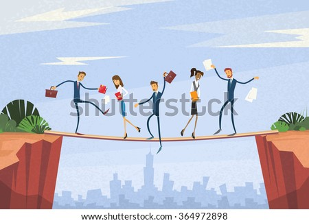 Businesspeople Group Unstable Shaking Over Cliff Team Problem Business People Risk Concept Flat Vector Illustration - stock vector