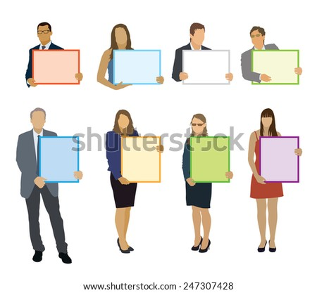 Businesspeople holding blank posters. Ready for branding and advertising. - stock vector