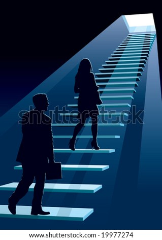 Businesspeople in a hurry, conceptual business illustration.