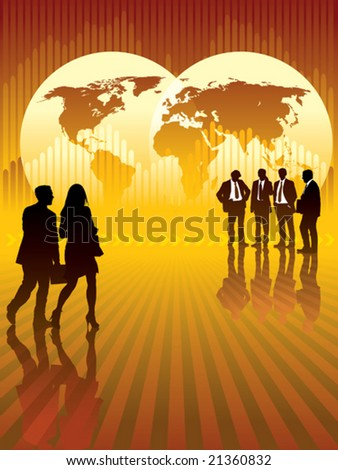 Businesspeople in front of world map and graph in the background, conceptual business illustration. - stock vector