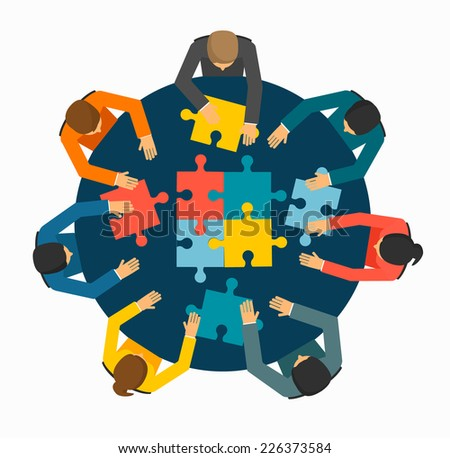 Businesspeople joining puzzle pieces on table, vector illustration - stock vector
