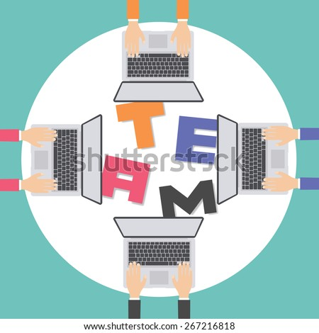 Businesspeople joining the letters building TEAM, vector illustration - stock vector