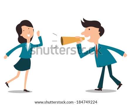 Businesspeople, man and woman, enjoy communicate each other with megaphone, communication concept.  - stock vector