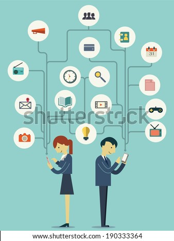 Businesspeople, man and woman, standing and using smart phone in many ways representing with flat design icons. Technology with social network concept.   - stock vector