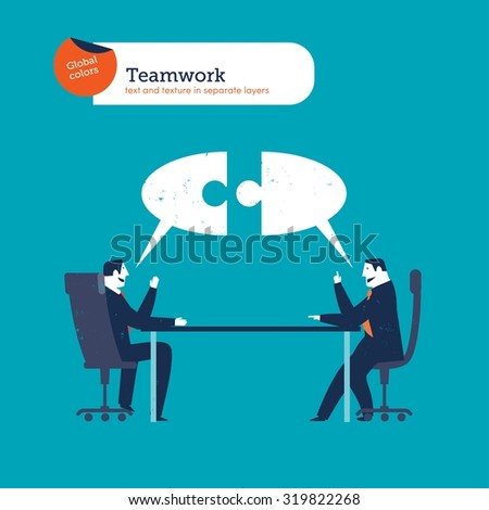 Businesspeople meeting and speech bubble puzzle. Vector illustration Eps10 file. Global colors. Text and Texture in separate layers. - stock vector