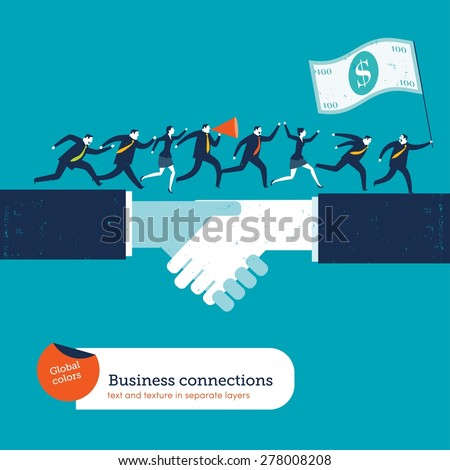 Businesspeople on handshake with a leader with 100 dollar flag. Vector illustration Eps10 file. Global colors. Text and Texture in separate layers. - stock vector