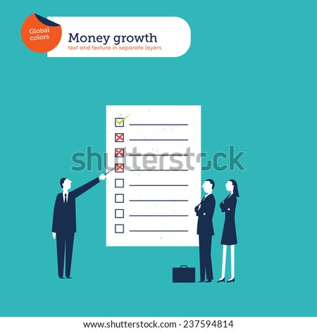 Businesspeople one explaining a chart. Vector illustration Eps10 file. Global colors. Text and Texture in separate layers. - stock vector