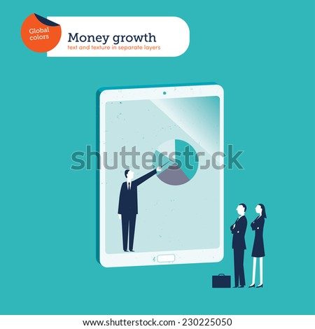 Businesspeople one giving an explanation from a tablet. Vector illustration Eps10 file. Global colors. Text and Texture in separate layers. - stock vector