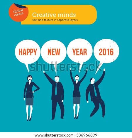 businesspeople saying happy new year 2016 vector illustration eps10 file global colors text