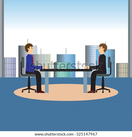 Businesspeople sitting at a table. Negotiations, discussion. Illustration, elements for design.
