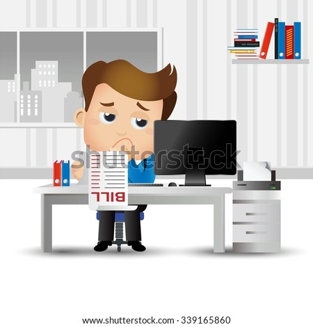 Businesspeople stressed and worried with a lot of bill  - stock vector