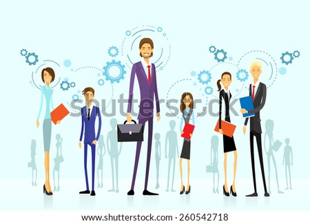 businesspeople team group, human resource flat design vector illustration - stock vector