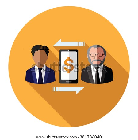 Businessperson connecting with mobile - stock vector