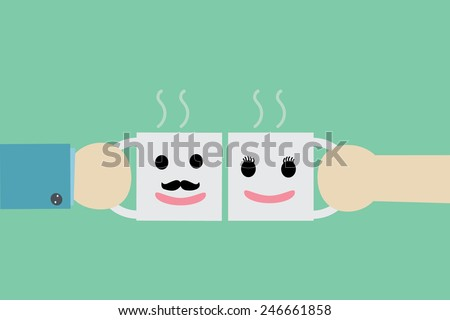 Businesswoman and businessman drinking coffee  - stock vector
