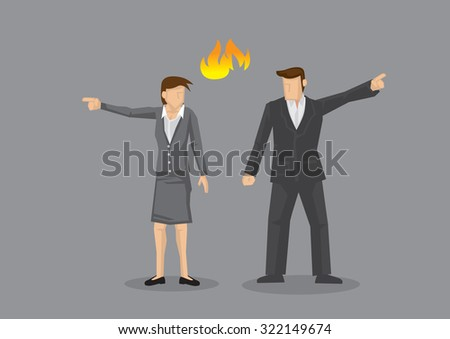 Businesswoman and businessman pointing in opposite direction with fire symbol between them. Vector illustration on disagreement concept isolated on grey background. - stock vector