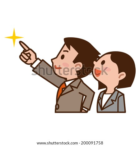 Businesswoman and businessman with a hope - stock vector