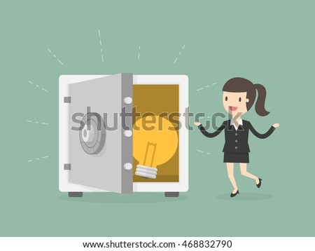 Businesswoman and Idea In Safe. Business Concept Cartoon Illustration.