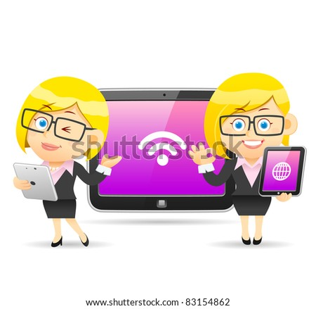 Businesswoman and tablet PC
