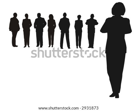 businesswoman and team - stock vector