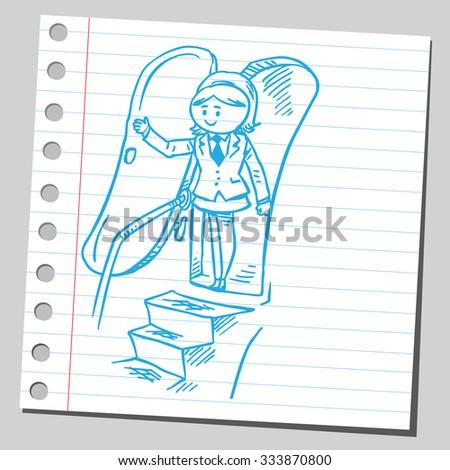 Businesswoman at airplane door - stock vector