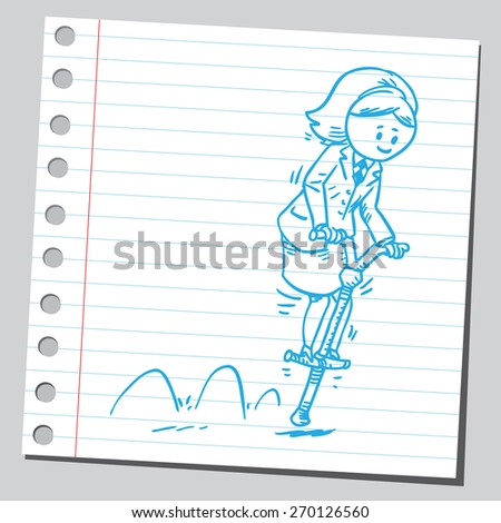Businesswoman bouncing on pogo stick - stock vector
