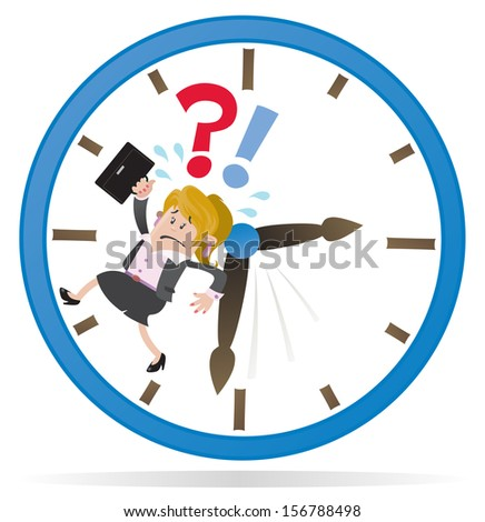 Businesswoman Buddy is Running out of Time. Vector illustration of a Businesswoman Buddy clearly very distressed as she is running out of time in her giant metaphorical clock.  - stock vector
