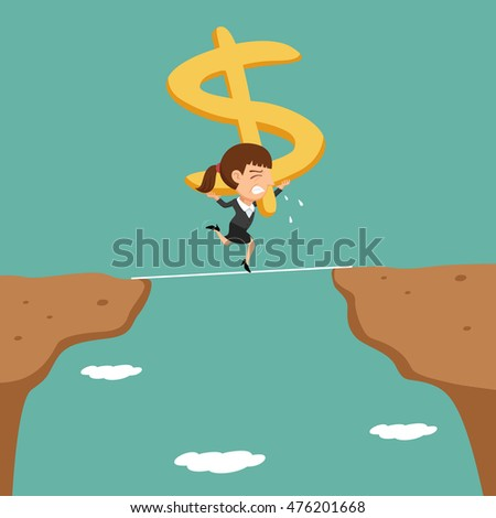 Businesswoman carrying arrow up sign walking cross the cliff, vector illustration cartoon