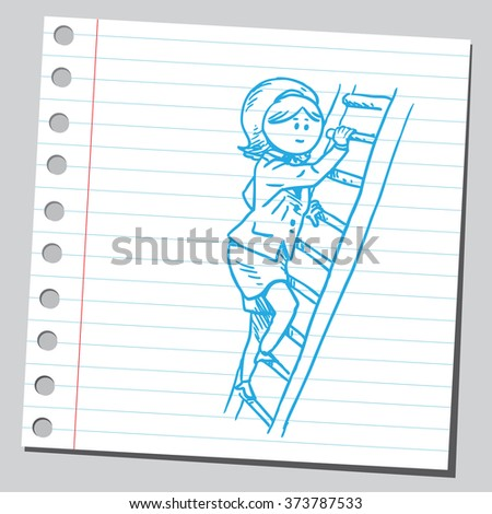 Businesswoman climbing on ladder