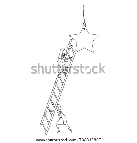 businesswoman climbing wooden stairs to reach a star monochrome silhouette dotted vector illustration