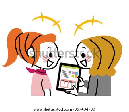 Businesswoman described in tablet - stock vector