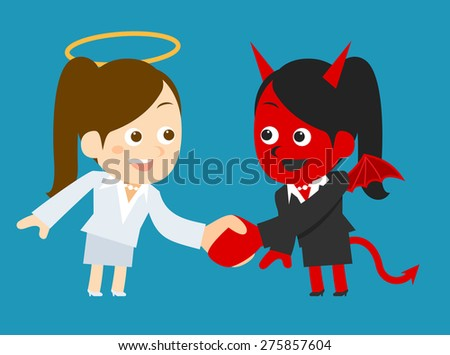 Businesswoman devil and angel  - stock vector