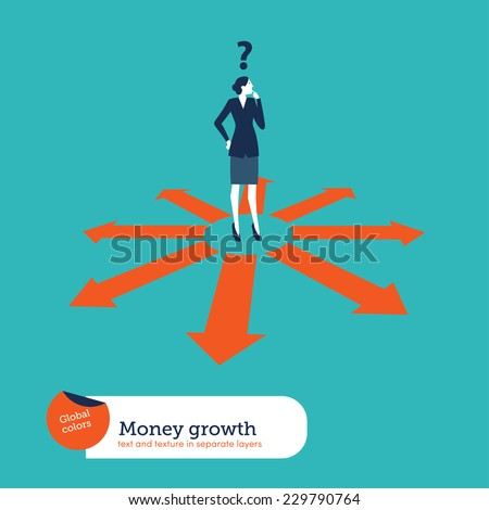 Businesswoman doubting which direction is the best. Vector illustration Eps10 file. Global colors. Text and Texture in separate layers. - stock vector