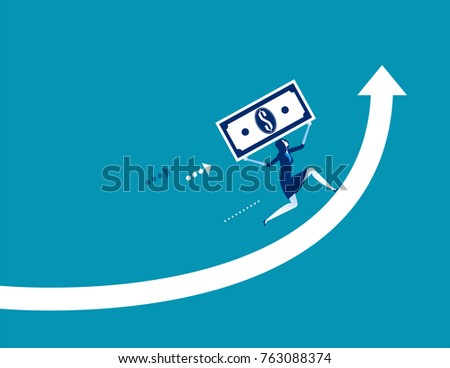 Businesswoman economy growth. Concept business vector illustration.