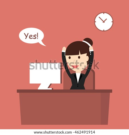 Businesswoman enjoys success. Vector illustration.