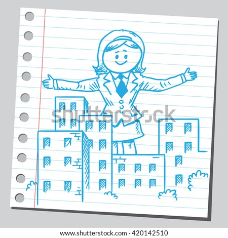 Businesswoman giant over city - stock vector