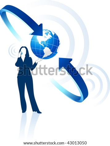 businesswoman global communication Original Vector Illustration Globes and Maps Ideal for Business Concepts - stock vector