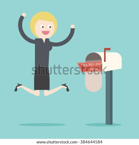 Businesswoman got Tax refund cheque in mailbox. Refunded check. Money spending. Flat design business financial marketing commercial banking web banner flyer minimal concept cartoon illustration. - stock vector