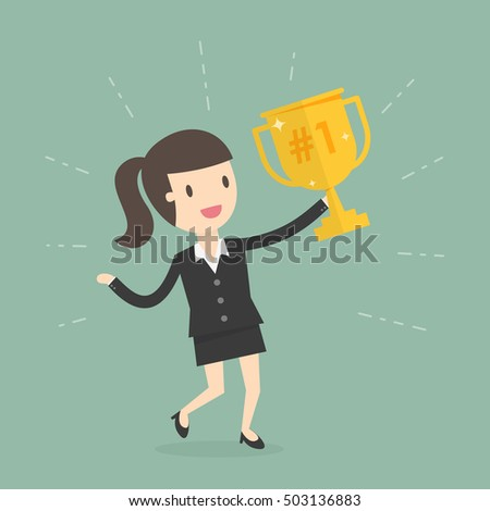 Businesswoman Holding a Trophy. Business Concept Cartoon Illustration.