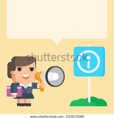Businesswoman holding megaphone concept - stock vector