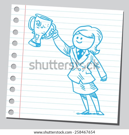 Businesswoman holding trophy cup - stock vector