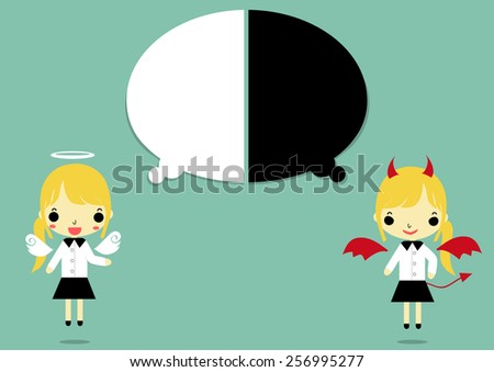 businesswoman in angel and devil form that thinking of white and black color on blue background.