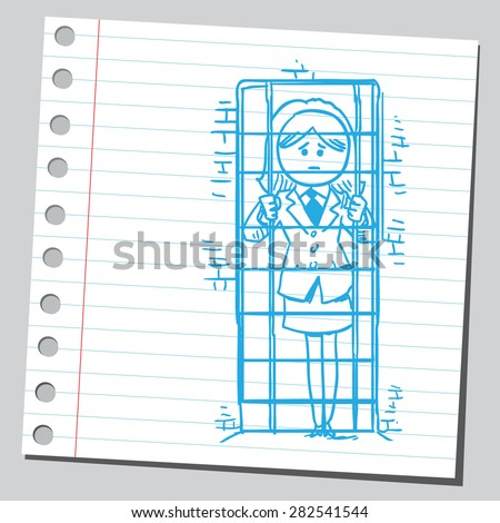 Businesswoman in jail - stock vector